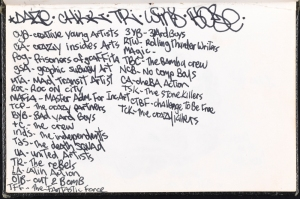 List of the full names of graffiti crews and their corresponding acronyms in DAZE's black book. ca. 1981. Museum of the City of New York. 94.114.263.92