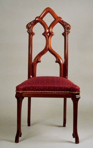 An American Gothic Parlor Chair. Mahogany. Size: 48.5