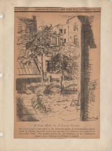 Reproduction of Edward C. Caswell's drawing of William Auerbach-Levy's garden. Printed in The Villager, September 16, 1943.