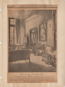 Reproduction of Edward C. Caswell's drawing of William Auerbach-Levy's studio. Printed in The Villager, .