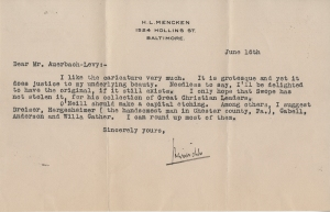 Letter from H. L. Mencken to William-Auerbach Levy, June 16, 1929. Museum of the City of New York. William Auerbach-Levy archives.