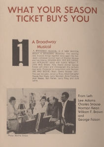 """A Broadway Musical"" program. Theater archives, Museum of the City of New York."