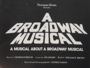 """A Broadway Musical"" sticker. Theater archives, Museum of the City of New York."