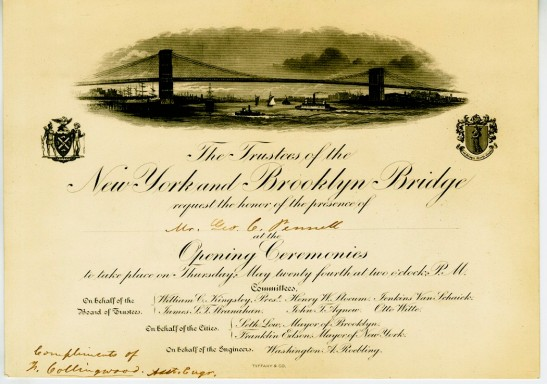 Invitation to the Opening Ceremonies of the New York and Brooklyn Bridge, 1883, in the Collection on Civic Events.  Museum of the City of New York, 38.116.2.
