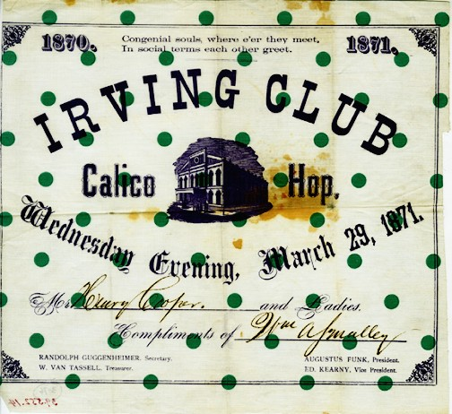Irving Club Calico Hop, 1871, in the Collection on Social Events.  Museum of the City of New York, 39.552.14.