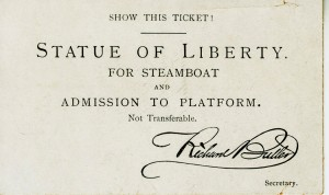 Admission Ticket to Viewing Platform for Statue of Liberty Dedication Ceremonies, 1886, in the Collection on Civic Events.  Museum of the City of New York, 48.176.41