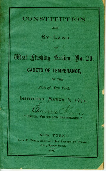 Constitution and Bylaws of the Cadets of Temperance, 1871, in the Collection on Clubs and Societies.  Museum of the City of New York, 48.356.1