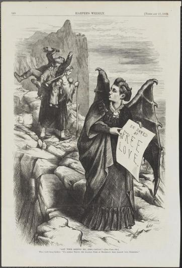 "Thomas Nast (1840-1902) for Harper's Weekly. ""Get Thee Behind Me, (Mrs.) Satan!"".  1872. Museum of the City of New York. 99.124.22."