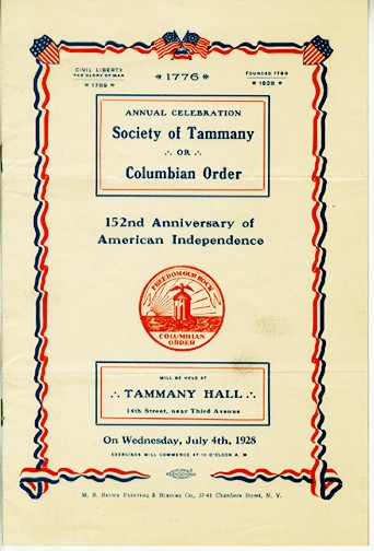 Annual Celebration of the Society of Tammany, 1928, in the Collection on Politics.  Museum of the City of New York.