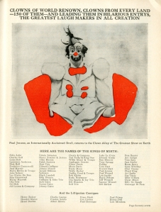 Paul Jerome returns to Clown Alley. 1936. Ringling Brothers and Barnum & Bailey Circus Magazine. Museum of the City of New York Theater archives.