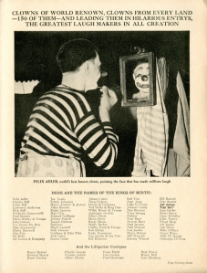 Felix Adler. 1937. Ringling Brothers and Barnum & Bailey Circus Magazine. Museum of the City of New York Theater archives.