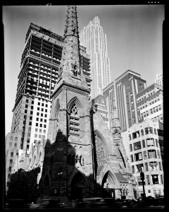 Berenice Abbott (1898-1991) for the Federal Art Project. Rockefeller Center with Collegiate Church of St. Nicholas, 1936. Museum of the City of New York, 43.131.1.311.