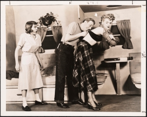 "Vandamm. ""Angel in the Wings"" theater still, with Grace Hartman, Paul Hartman, and Elaine Stritch in the sketch ""Trailer Trouble"". 1947. Museum of the City of New York. 68.80.11959"