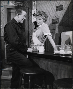 "Zinn Arthur. Patrick McVey as Carl and Elaine Stritch as Grace Hoylard in ""Bus Stop"". 1955-1956. Museum of the City of New York. 68.80.4607"