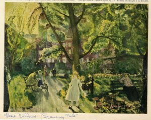 "Reproduction of ""Gramercy Park,"" George Bellows (1882-1925) from unknown publication, in the Dorothy Dignam Collection on Gramercy Park. Museum of the City of New York. PRO2014.3, folder 2."