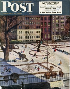 Gramercy Park by John Falter (1910-1982), cover of Saturday Evening Post, February 11, 1950, in the Dorothy Dignam Collection on Gramercy Park. Museum of the City of New York. PRO2014.3, folder 1.