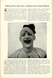 Talking clown has gone - replaced by comic horde. Ringling Bros and Barnum & Bailey Magazine and Daily Review. 1926. Museum of the City of New York Theater archives.