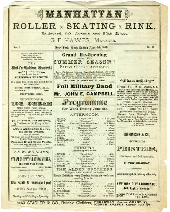 Manhattan Roller Skating Rink, 1885, in the Collection on Culture and Entertainment. Museum of the City of New York. 39.240.939.