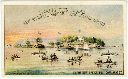 Starin's Glen Island, New Rochelle Harbor, Long Island Sound, ca. 1885, in the Collection on Culture and Entertainment.  Museum of the City of New York. 40.275.86