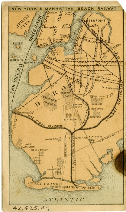 Manhattan Beach Railway, 1878, in the Collection on City Infrastructure.  Museum of the City of New York. 43.425.47.