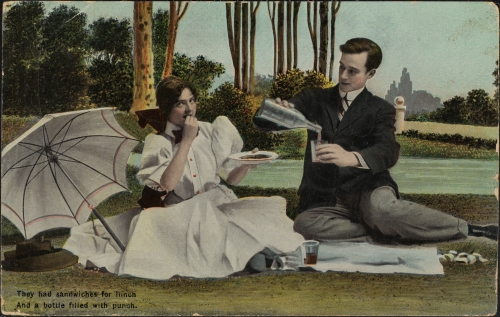 They had sandwiches for lunch and a bottle filled with punch, ca. 1915, in the Postcard Collection.  Museum of the City of New York. X2011.34.556.