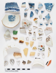 These fragments of decorated ceramics were excavated from inside the cold storage shed.