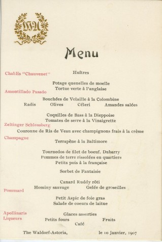 Waldorf-Astoria menu, 1907, in the Collection on Dining and Hospitality.  Museum of the City of New York. 42.250.62.