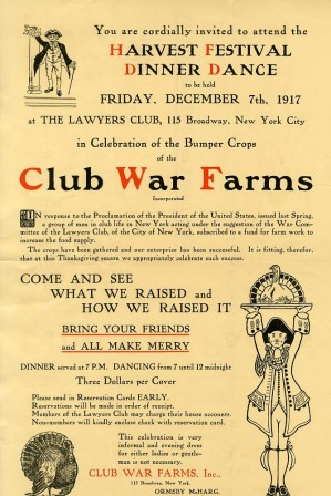 Harvest Festival Dinner Dance, Club War Farms, 1917, in the Collection on World War I and World War II. Museum of the City of New York. 40.90.211.
