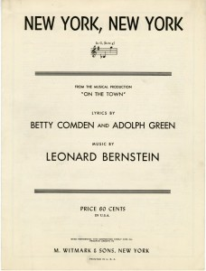 "Sheet music for ""New York, New York"" from On the Town, 1944. Museum of the City of New York, 70.22.141B."