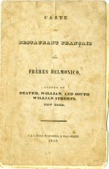 Restaurant Français des Frères Delmonico, 1838, in the Collection on Dining and Hospitality. Museum of the City of New York. 34.295.2.