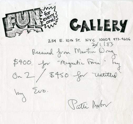 Fun Gallery Receipt, March 1983, in the Martin Wong Papers. Museum of the City of New York. folder 29.