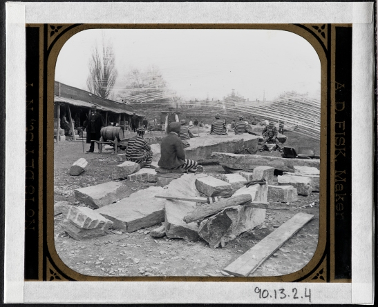 Blackwell's Island. Prisoners Breaking Stone.