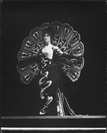 "Martha Swope. [Unidentified showgirl in ""Follies"".] 1971-1972. Museum of the City of New York, 92.52.26.33."