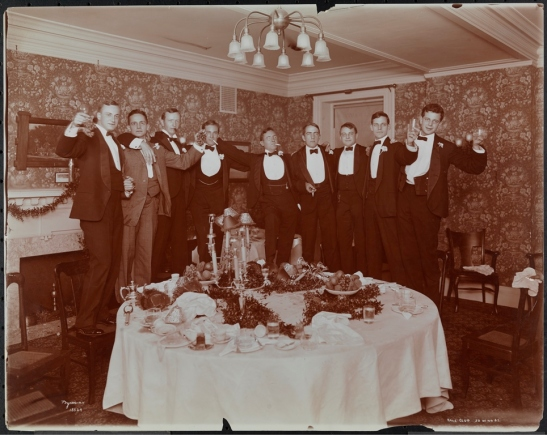 Byron Company (New York, N.Y.). Dinner - Bachelor 1904 Yale Club 30 West 44th St.  1904. Museum of the City of New York. 93.1.1.3979.