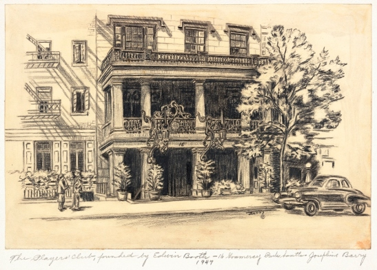 Josephine Barry. Player's Club, founded by Edwin Booth - 16 Gramercy Park Southern. 1947. 1947. Museum of the City of New York. 75.43.85