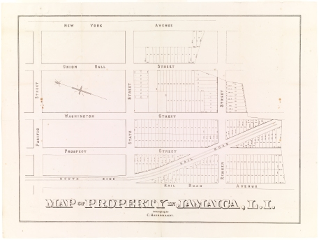 Map of Property in Jamaica, L.I. Belonging to C. Heerbrandt, ca. 1900, in the Map Collection. Museum of the City of New York, 29.100.2021.