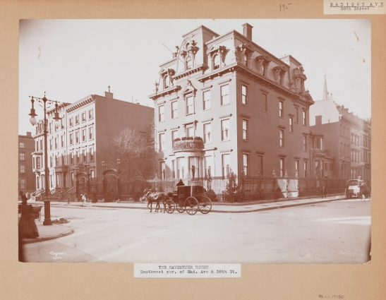 The Havemeyer House at the corner of Madison Ave. and 38th St.  A horse and carriage are visible in front of the building.