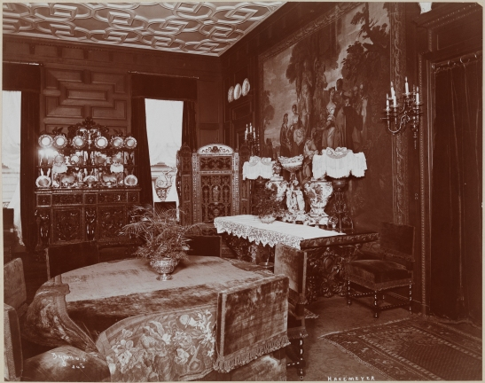 A dining room of the Theodore (?--Henry Osborne?) Havemeyer (sugar refiner) residence at Madison Avenue and 38th Street.