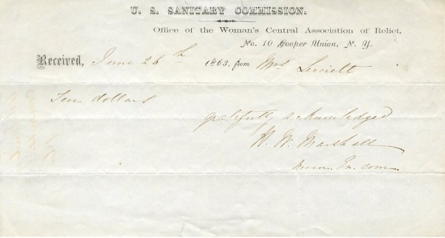 Receipt of donation to the U.S. Sanitary Commission, Office of the Women's Central Association of Relief, 1863, in the Collection on the Civil War.  Museum of the City of New York, 32.151.13.