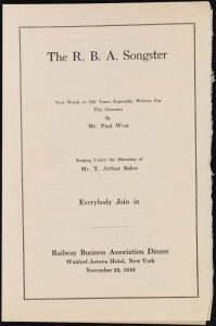 The R.B.A. Songster. 1910. Collection on Special Event Dinners. Museum of the City of New York. 40.90.127