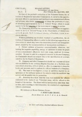 CIRCULAR No. 9, 1865, in the Letters Collection. Museum of the City of New York, 42.220.4B.
