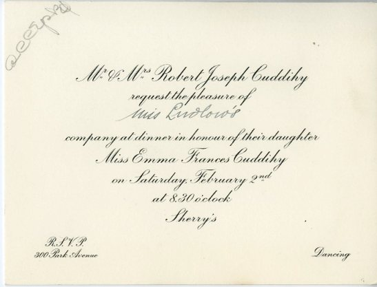 Invitation to dinner in honor of Miss Emma Frances Cuddihy, ca. 1929, in the Collection on Social Events. Museum of the City of New York, X2014.12.223A