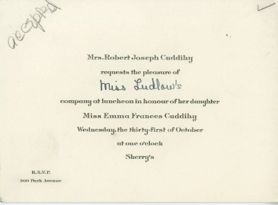 Invitation to luncheon in honor of Miss Emma Frances Cuddihy, ca. 1928, in the Collection on Social Events. Museum of the City of New York, X2014.12.223B