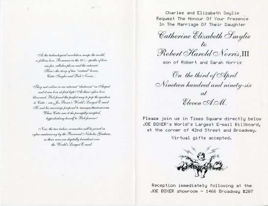 Invitation to the wedding of Catherine Elizabeth Smylie and Robert Harold Norris, III, 1996, in the Collection on Social Events. Museum of the City of New York, X2014.12.149AB