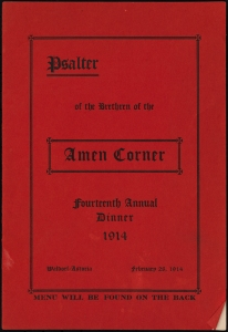 Psalter of the Brethren of the Amen Corner Fourteenth Annual Dinner. 1914. Collection on Special Event Dinners. Museum of the City of New York. F2012.18.98