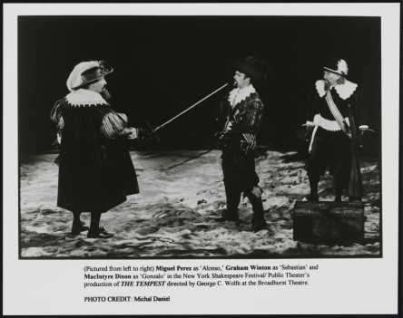 Michal Daniel. [MIguel Perez as Alonso, Graham Winton as Sebastian, and MacIntyre Dixon as Gonzalo.] 1995. Museum of the City of New York. F2013.41.7906