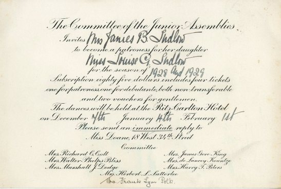 Junior Assembly subscription invitation to Miss Louisa G. Ludlow, ca. 1928, in the Collection on Social Events. Museum of the City of New York, X2014.12.246