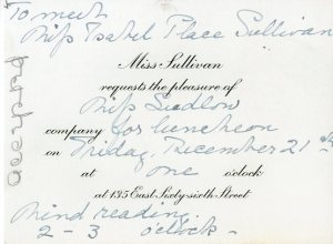 Invitation to luncheon in honor of Miss Isabel Place Sullivan, ca. 1928, in the Collection on Social Events. Museum of the City of New York, X2014.12.303