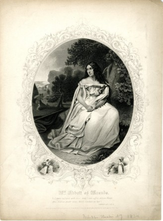 Mrs. Abbott as Miranda, 1855. Martin & Johnson, publisher. Museum of the City of New York. 40.160.10.