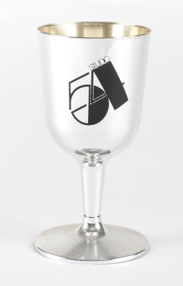 Studio 54 Champagne Flute, 1977, in the Collection on Culture and Nightlife. Museum of the City of New York. 2013.8.12B.